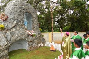 Bishop blesses the new Grotto at Gangolli